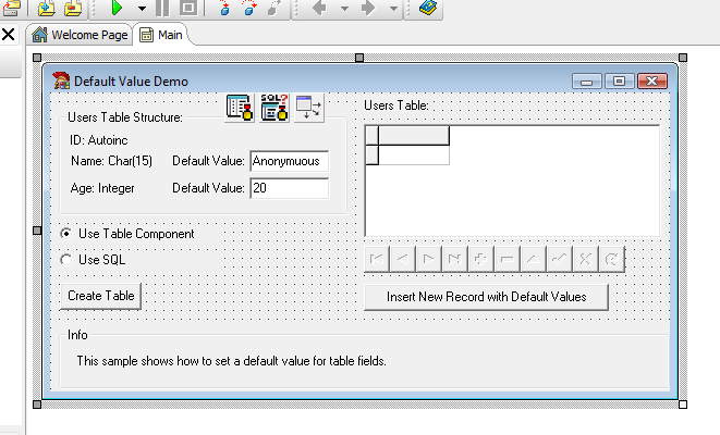 Default Value Delphi Example