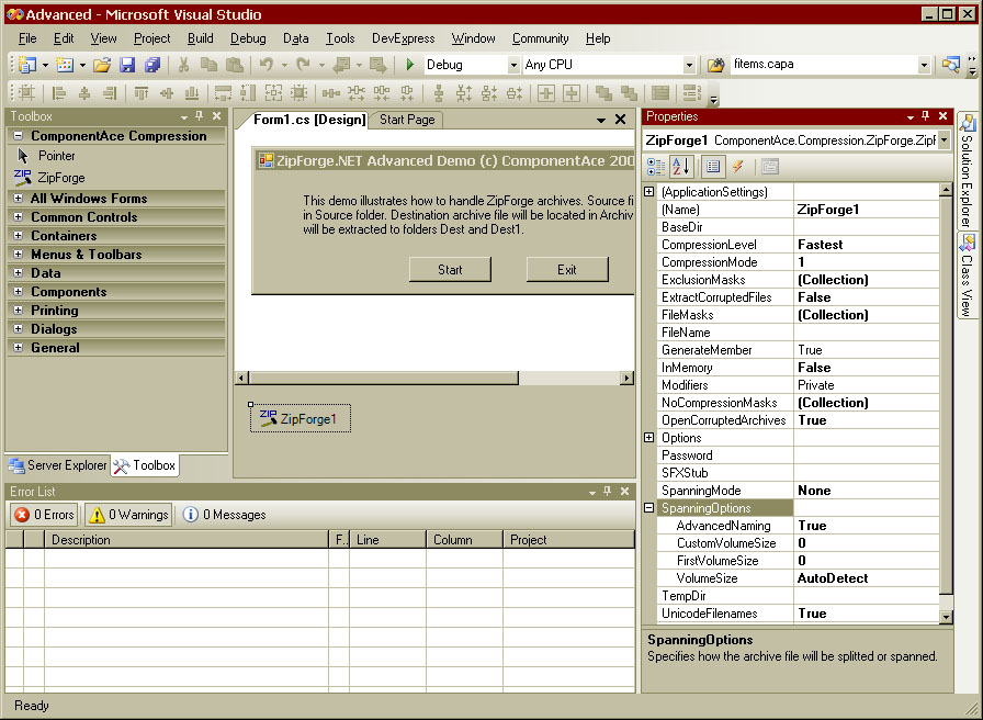 Click to view .NET Zip Component ZipForge.NET 3.00 screenshot